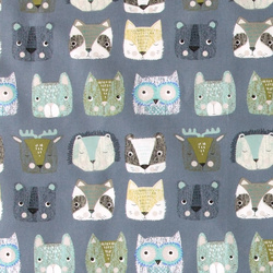 Cotton dust blue w abstract animal faces
