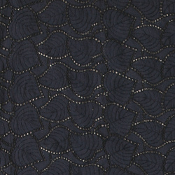 Broderie anglaise dark navy with leafs