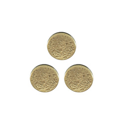 Shank button embossed 20mm mat gold 3pcs