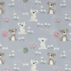 Cotton grey w dogs and flowers
