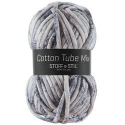Garn cotton tube mix hvid/blå spray