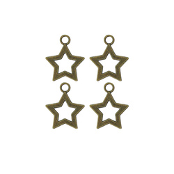 Pendant star 27x23mm brass 4pcs