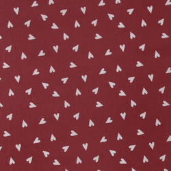 Woven oilcloth red w grey hearts