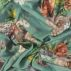 Woven satin dusty green with big flowers