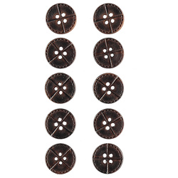 Button 4-holes 15mm dark brown 10pcs