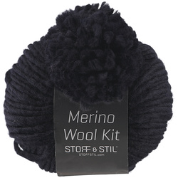 Yarn merino wool kit w/pompon navy
