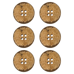 Button coconut 25mm 4 holes 6 pcs
