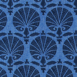 Cotton clear blue with black pattern