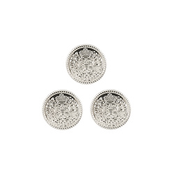 Shank button shield 20mm silver 3pcs