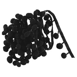 Pom pon ribbon 10mm black 3m