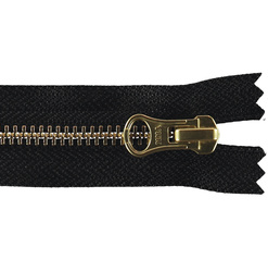 YKK zip 6mm closed end black/gold