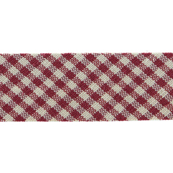 Bias tape checked 30mm red/nature 5m