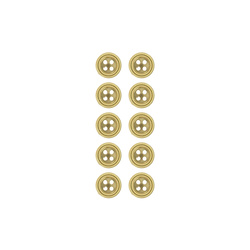 Button 4 holes 10mm dull gold 10 pcs