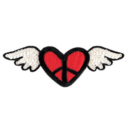 Patch 98x35mm heart with wings 1 pc